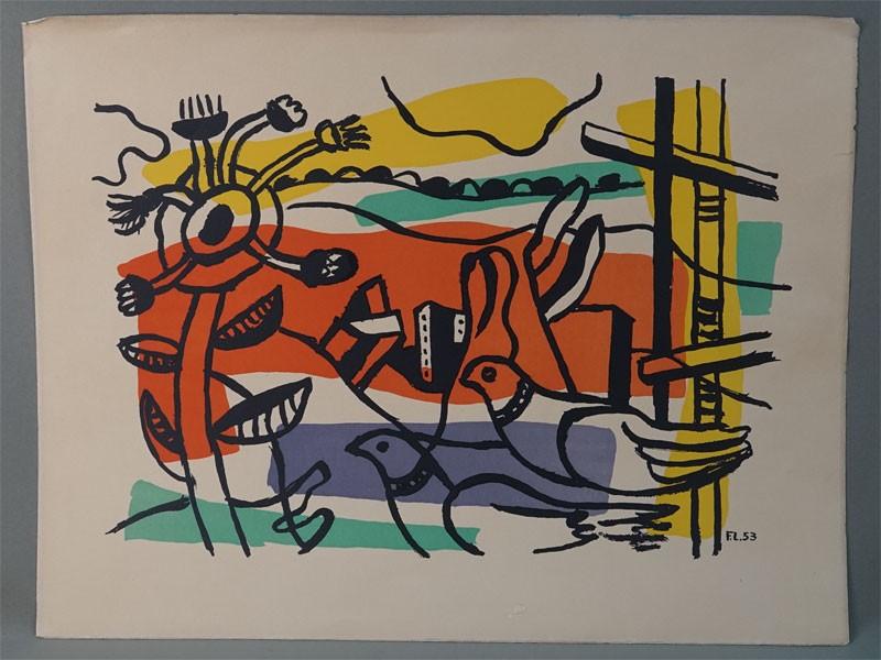 Ф.Леже, «Композиция с двумя птицами», бумага,  цветная литография, 1953 год, 65 × 50см