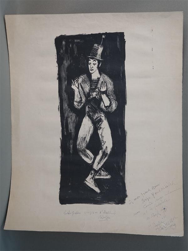 «Клоун», бумага, оригинальная литография, 64 × 50см. Автограф «От Марселя Марсо в подарок Серею Юткевичу»