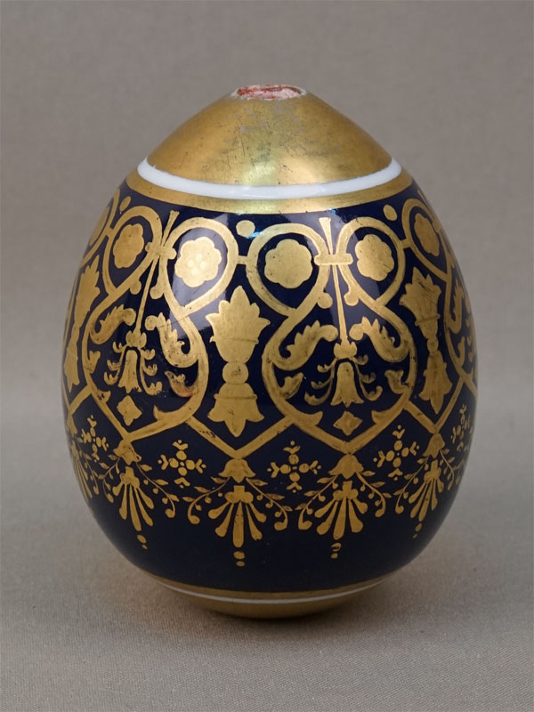 Яйцо пасхальное «Золотой узор», фарфор, кобальт, золочение, высота 9см