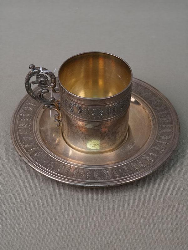 Кофейная пара, серебро 950 пробы, общий вес 147г. Франция, конец XIX века