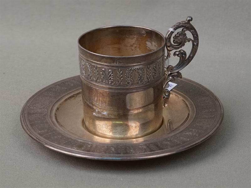 Кофейная пара, серебро 950 пробы, общий вес 148г. Франция, конец XIX века