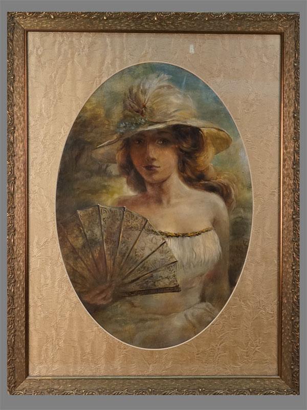 Картина в раме «Портрет девушки с веером», картон, масло, 1900 год, подпись художника «F», 82 × 63см