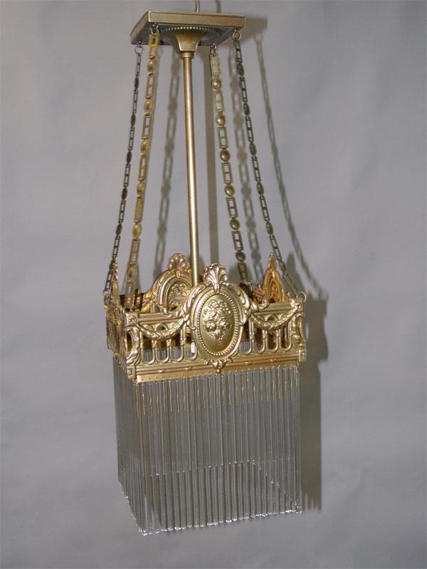 Светильник — ампель в стиле модерн, латунь, стекло, начало ХХ века, 1 световая точка, 66 × 24см