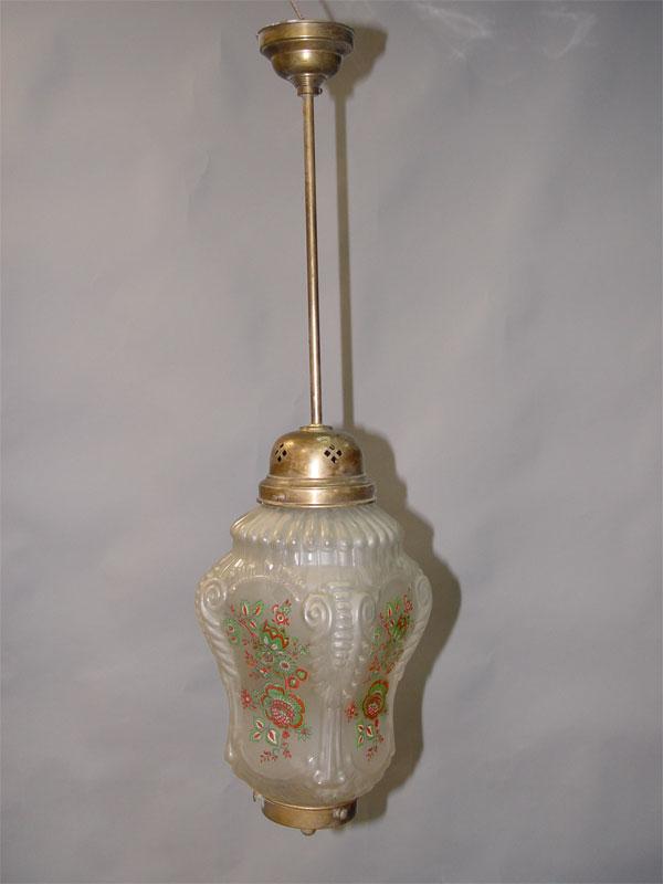 Люстра «Фонарь», латунь, стекло, печать, середина ХХ века, 74 × 18см