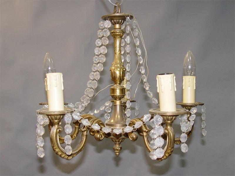 Люстра в стиле рококо, бронза, хрусталь, середина ХХ века, 5 световых точек, 40 × 43см (проводка неисправна)