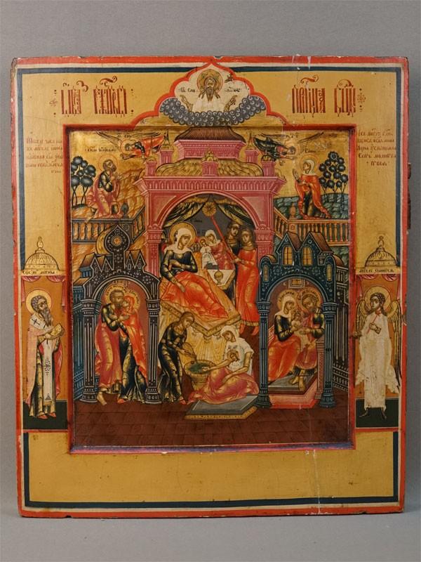 Икона «Рождество Пресвятой Богородицы с предстоящими», дерево, левкас, темпера, золочение, XIX век, 36 × 31см