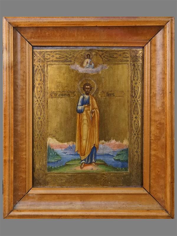 Икона в киоте «Святой Апостол Петр», дерево, левкас, темпера, золочение, XIX век, 22 × 18см