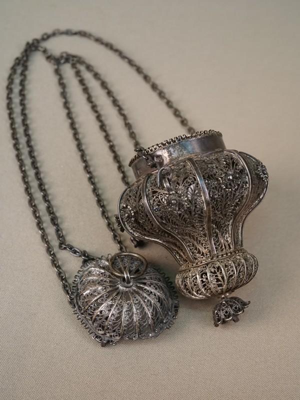 Лампада, серебро 91 пробы, скань, 1858 год, общий вес 129,6г., высота 48см