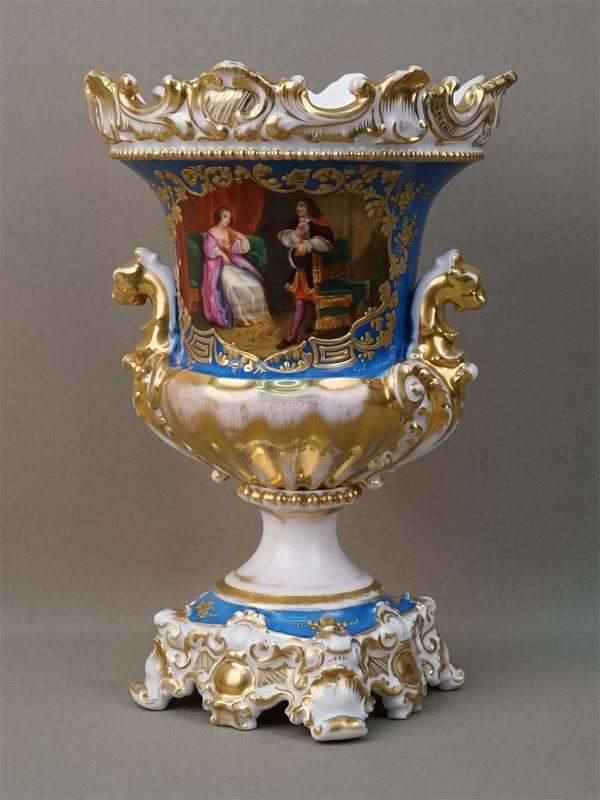 Ваза декоративная «Галантная сцена», фарфор, роспись, золочение, высота 26см (реставрация)