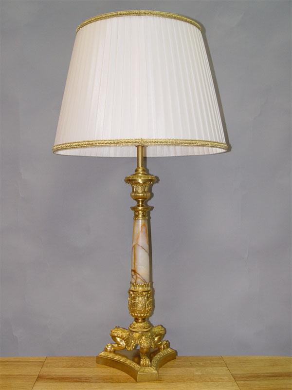 Лампа настольная в стиле неоклассицизм, бронза, оникс, середина ХХ века, 1 световая точка, 85 × 43см