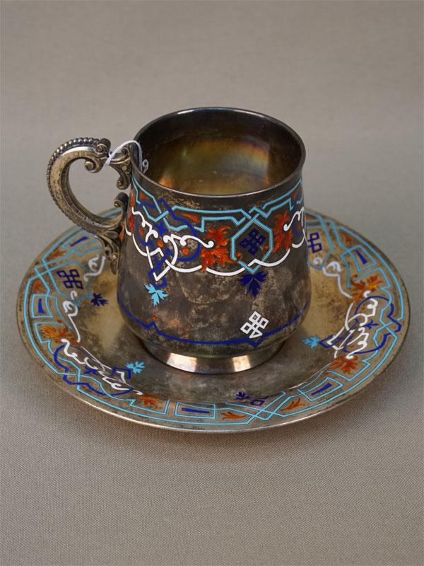 Чайная пара в русском стиле, серебро 84 пробы, эмаль, общий вес 314,76г. Санкт-Петербург, фирма Никольс и Плинке, 1873 год