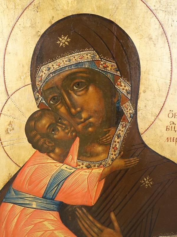 Икона «Пресвятая Богородица Владимирская», дерево, левкас, темпера, золочение, конец XVIII века, 49 × 39,5см (реставрация по трещине)