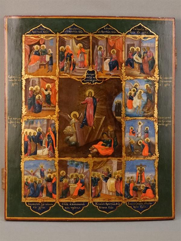 Икона «Праздники», дерево, левкас, темпера, золочение, первая полвина XIX века, 44,5 × 37,5см