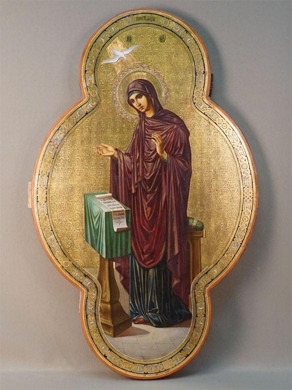 Икона «Благовещение. Пресвятая Богородица», дерево, смешанная техника, золочение, XIX век, 70 × 43см