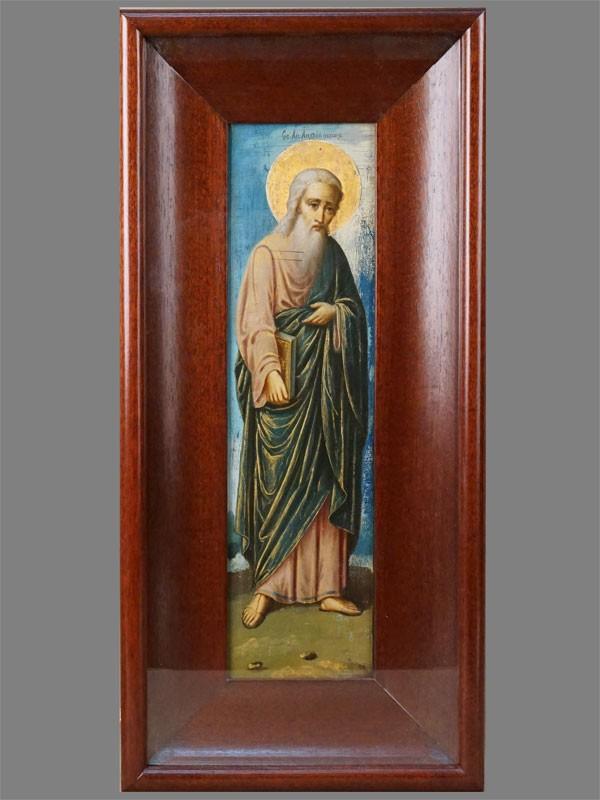 Икона в киоте «Святой Андрей Первозванный», дерево, смешанная техника, золочение. Афон, конец XIX века, 39 × 11см