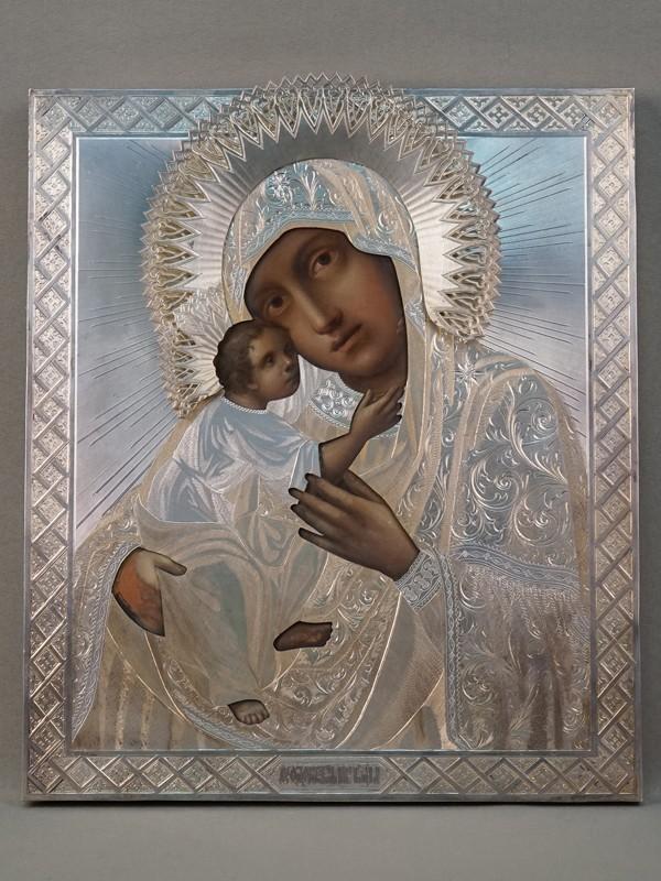 Икона «Пресвятая Богородица Федоровская», дерево, масло; оклад серебро 84 пробы, клеймо «Овчинников»,  1869 год, 31 × 27см