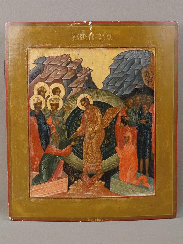 Икона «Воскресение Христово», дерево, левкас, темпера, золочение. Мстера, XIX века, 31 × 27см