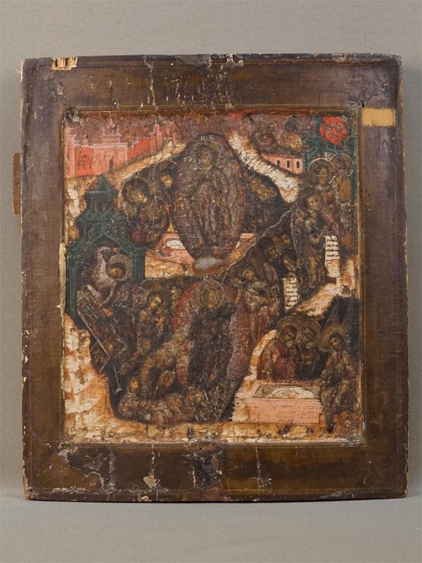 Икона «Воскресенье Христово», дерево, левкас, темпера, золочение, XVIII век, 31,5 × 28см