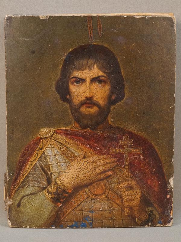 Икона в киоте «Святой Благоверный Князь Александр Невский», дерево, масло, 23 × 18см, конец XIX века