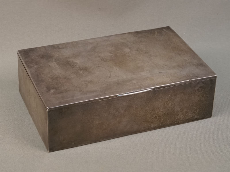 Сигарная шкатулка, серебро 875 пробы, золочение, клеймо H.Berg, общий вес 386г., 16,3 × 10 × 4,7см