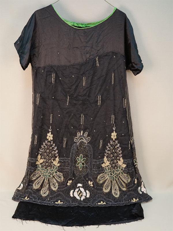 Платье, атлас, бисер, стеклярус, начало XX века