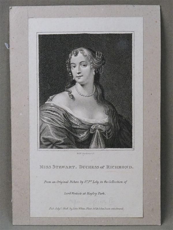 Фрэнсис Тереза Стюарт, герцогиня Ричмондская / Miss Stewart duchesse of Richmond from original picture by Peter Lely. publ. by john White. Гравировал  W.N. Gardiner, 1808. 18 × 12 см.