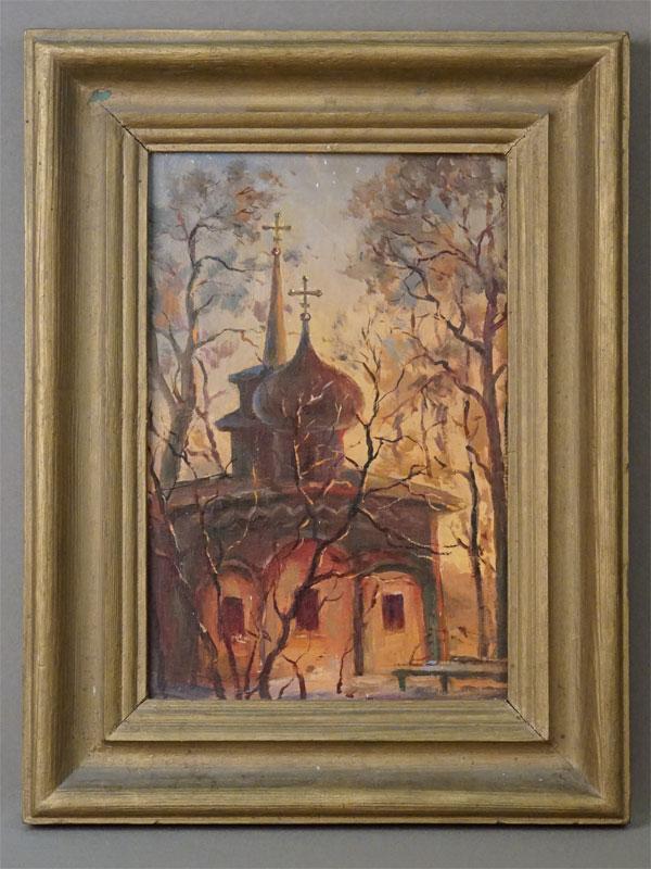 Картина в раме. П.Рощинкин, «Святогорский монастырь», картон, масло, 29,5 × 20см, вторая половина XX века