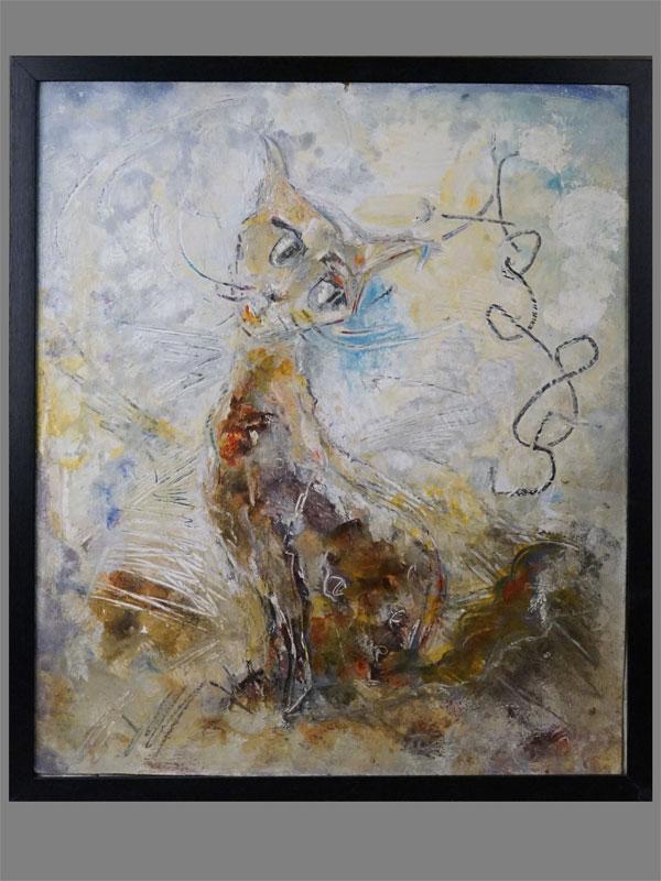 Картина в раме. А. Зверев (?), «Кошка», картон, масло, 55 × 45см, 1985 год