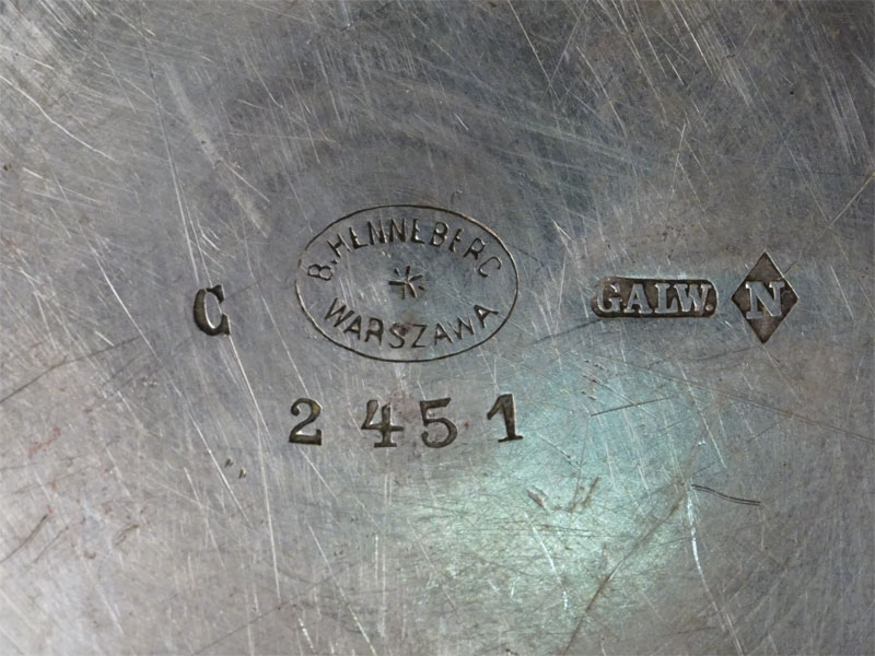 Икорница «Кадушка», латунь, серебрение; стекло. Варшава, конец XIX – начало XX века, диаметр блюдца 16,5см