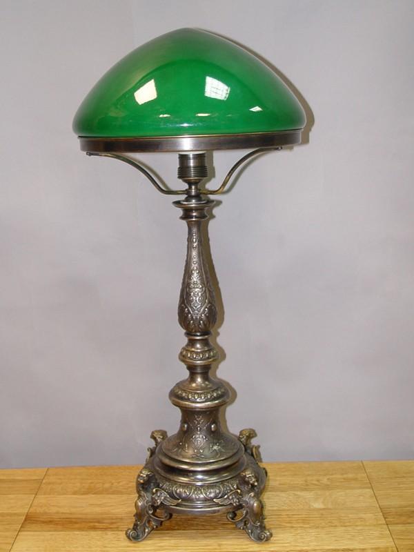 Лампа настольная в стиле неоренессанс, латунь, серебрение, стекло, 60 × 26см