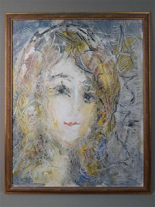 Картина  в раме. А.Зверев (?), «Женский портрет», картон, масло, 63,5 × 50см, 1978 год