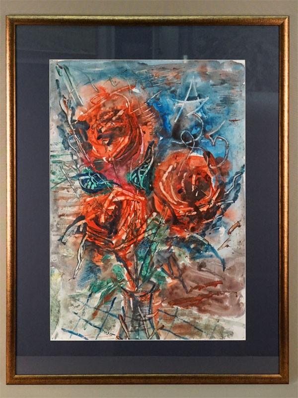 Картина  в раме. А.Зверев (?), «Красные розы», бумага, акварель, 58,5 × 40,5см (в окне), 1985 год