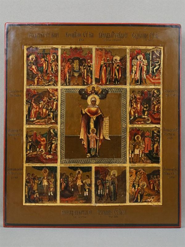 Икона «Святые Мученики Кирик и Улита с житием», дерево, левкас, темпера, золочение, XIX век, 33 × 28,5см (реставрация)