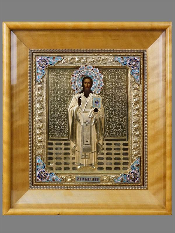 Икона в киоте «Святой Василий Епископ Парийский», дерево, масло; оклад серебро 84 пробы, золочение, эмаль, 1908-1917 годы, 26 × 21,5см