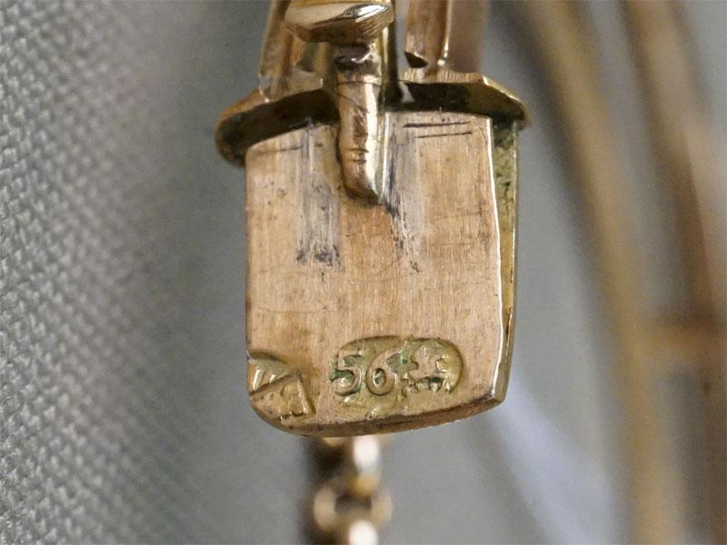 Браслет, золото 56 пробы, общий вес 31,1г. Вставки: аметист, природный жемчуг.