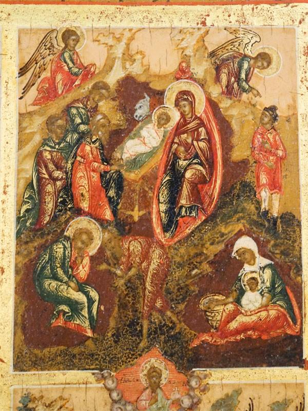 Икона «Праздники», 29 клейм, дерево, левкас, темпера, золочение. Палех, конец XVIII века, 54 × 44см