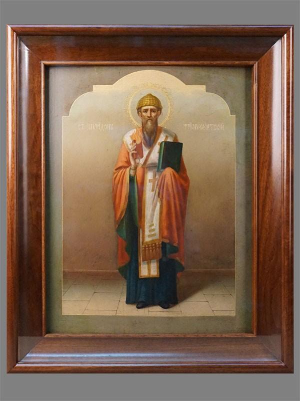 Икона в киоте «Святой Спиридон Тримифунтский», дерево, левкас, темпера, позолота, конец XIX века, 44,5 × 35,5см (реставрация)