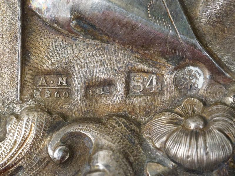 Икона «Святой Николай Чудотворец», дерево, левкас, темпера, золочение. Оклад серебро 84 пробы,  С.-Петербург, 1860 год, 36 × 32см