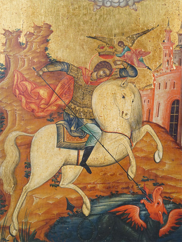 Икона «Святой Великомученик Георгий Победоносец», дерево, левкас, темпера, золочение, XIX век, 31 × 27см