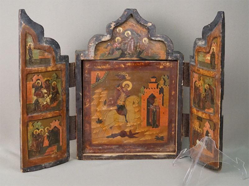 Складень «Святой Великомученик Георгий Победоносец» (центральная часть поновлена в результате реставрации) и «Праздники», дерево, левкас, темпера, золочение, XVIII век, 35 × 25см