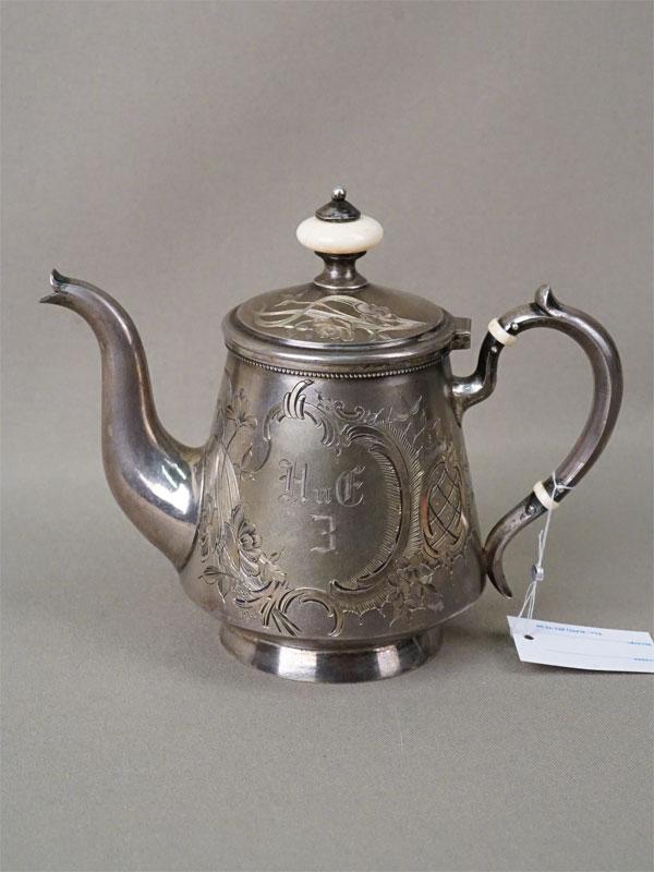 Чайник заварочный, серебро 84 пробы, гравировка, золочение, кость, общий вес 248,75г.