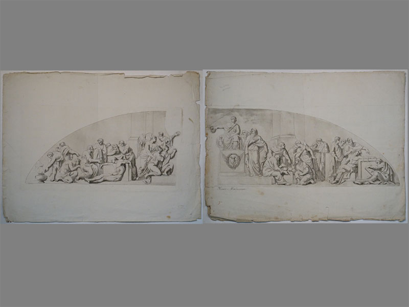 Козловский, М. И. Сочинения. Ок. 1800 года. : 18. Учение Медицины; большая гравюра на двух досках, грав. крепкой водкой и акватинтой: «Соч. М. Козловской» 9.5 × 41.5½. Два листа, 50 × 73 см каждый.