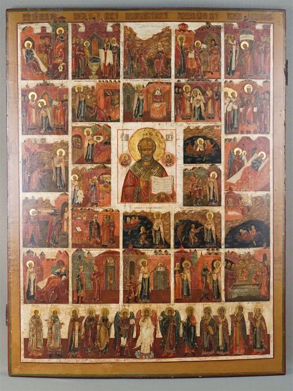 Икона «Святой Николай Чудотворец с 22 сценами жития», дерево, левкас, темпера, золочение, конец XVII века, 80 × 61см (реставрация)