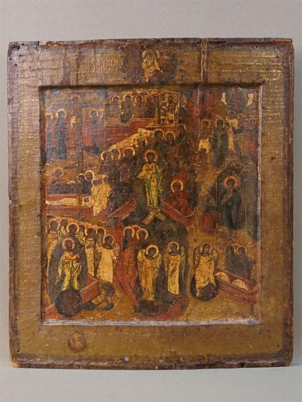 Икона с ковчегом «Воскресение Христово», дерево, левкас, темпера, золочение, начало XVII века, 31,6 × 28см (шпонки утрачены)