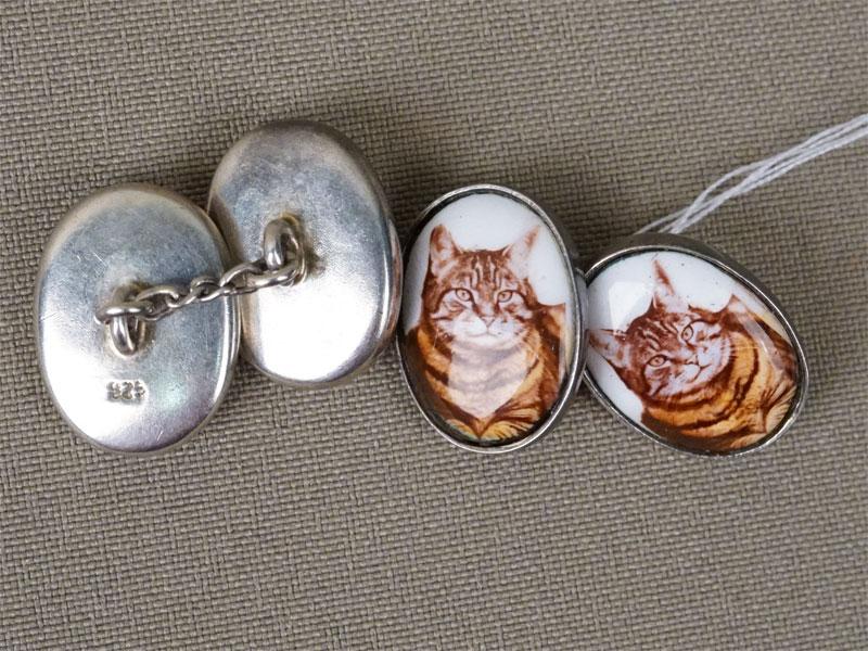 Запонки «Коты», серебро 925 пробы, эмаль, общий вес 11,29г.