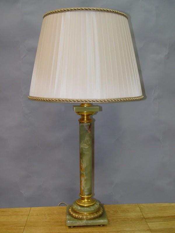 Лампа настольная, оникс, бронза, начало ХХ века, 1 световая точка (стандартный патрон Е-27), 79 × 42см