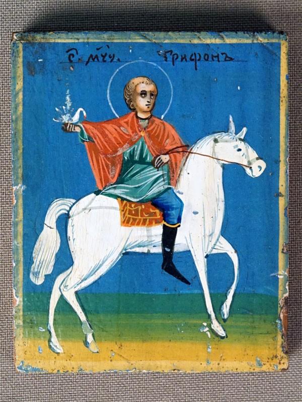 Икона «Святой Трифон», дерево, масло, 6,5 × 5см