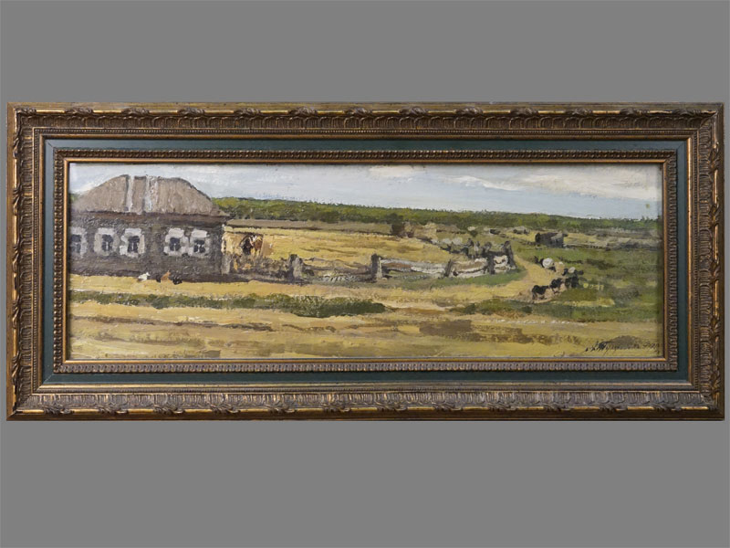 Картина в раме. Туржанский Леонид Викторович (1875-1945), «Весенний день», картон на картоне, масло, 15,7 × 47см, 1910 год. Атрибуция.