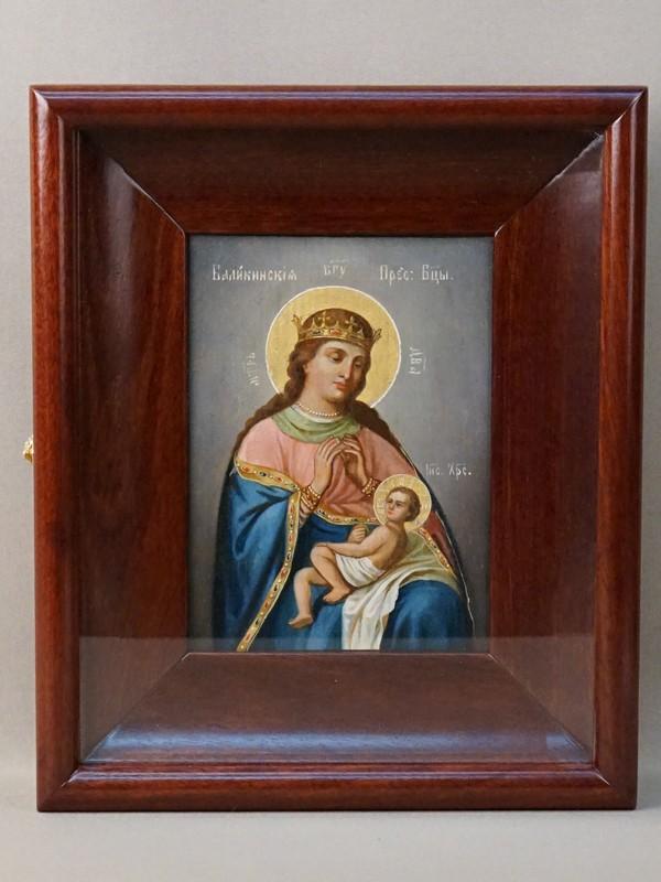 Икона в киоте «Пресвятая Богородица Балыкинская», дерево, масло, золочение, XIX век, 17,7 × 13см