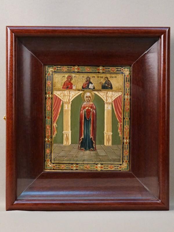 Икона в киоте «Святая Праведная Елизавета с Деисусным чином», дерево, масло, золочение, холодные эмали, конец XIX века, 17,7 × 14,5см